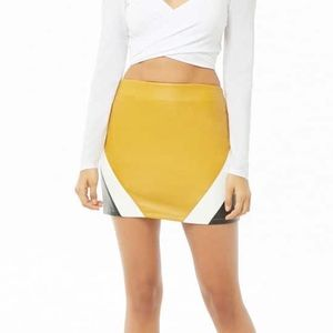 Faux Leather Colorblock Mini Skirt